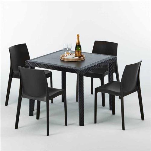 Table Carrée Noire 90x90cm Avec 4 Chaises Colorées Grand Soleil Set Extérieur Bar Café ROME PASSION, Couleur: Noir