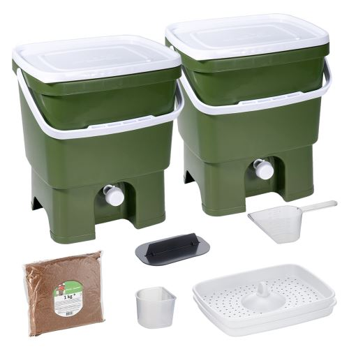 Skaza Bokashi Organko Ensemble (2 x 16 L) Lot de 2 Composteurs en Plastique Recyclé   Kit de démarrage pour les Déchets de Cuisine et le Compostage   avec de EM Bokashi Ferment 1 kg   Olive verte