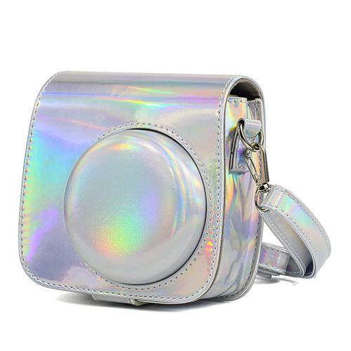 Étui en cuir PU antichoc pour Fujifilm Instax Mini 8 / 8+ / 9 - Argent