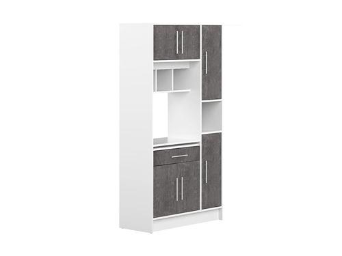 Buffet de cuisine MADY - 5 portes & 1 tiroir - Coloris blanc béton