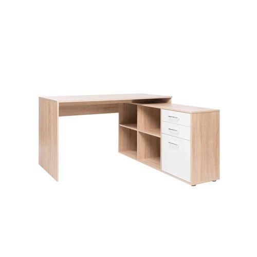 Bureau d'angle en bois imitation chêne sonoma avec niches de rangement - BU7046