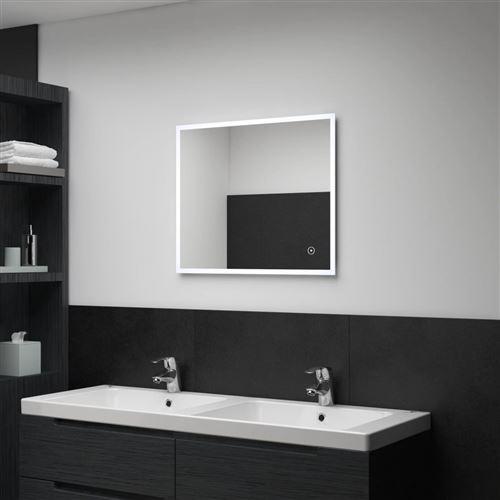 Miroir mural à LED de salle de bain et capteur tactile 60x50 cm (144735)