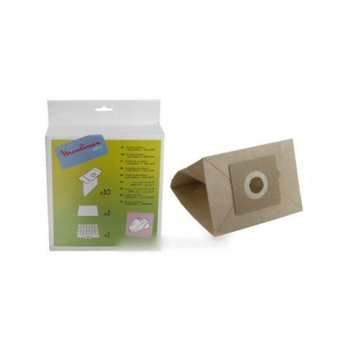 Sacs (x10) + 1 filtre hepa pour aspirateur zelio moulinex - 8988992