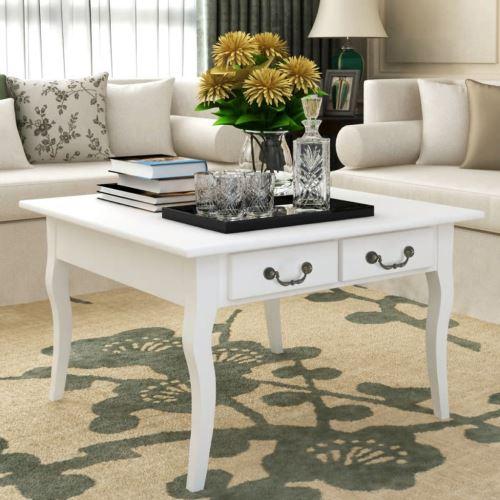 KKmoon Table basse Blanc Avec Beau 4 tiroirs bois de pin