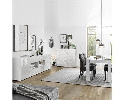 Salle à manger blanc laqué avec enfilade 240 ANTONIO - Blanc - L 180 x P 90 x H 79 cm