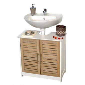 Meuble sous lavabo stockholm blanc aspect ch ne vieilli - Meuble salle de bain sous lavabo ...