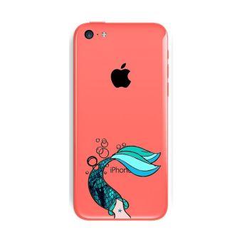 Coque Iphone 5C sirene mermaid bleu transparente