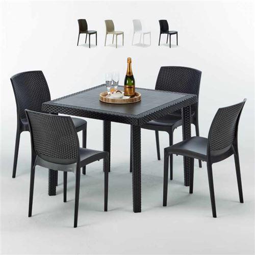 Table Carrée Noire 90x90cm Avec 4 Chaises Colorées Grand Soleil Set Extérieur Bar Café BOHEME PASSION, Couleur: Noir