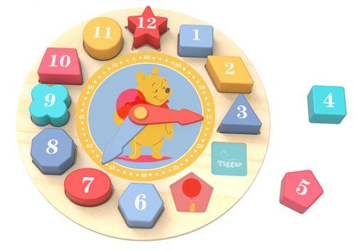 Disney horloge en cuir/Puzzle Winnie l'ourson 22 cm en bois 13 pièces