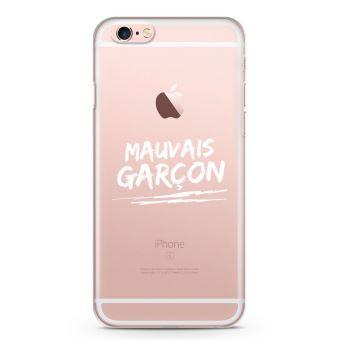 Coque iPhone 6 6s Mauvais garcon Souple Transparente Encre Blanc