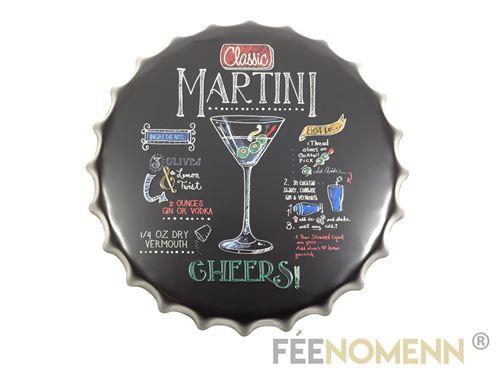 capsule métal vintage - recette martini façon ardoise (diam. 40cm)