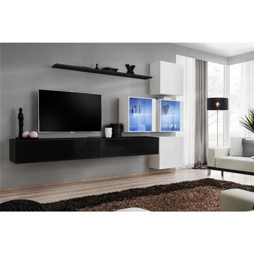 Ensemble meubles de salon SWITCH XIX design, coloris noir et blanc brillant.