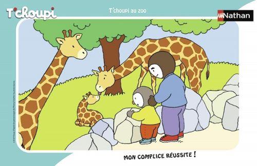 Puzzle avec cadre t'choupi et son papa au zoo - 15 pieces - enfant - dessin anime - animaux sauvages girafes