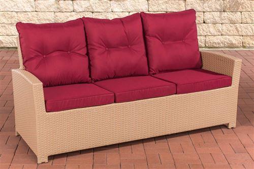 Canapé de Jardin Fisolo 3 places en polyrotin , Sable/Rouge rubis
