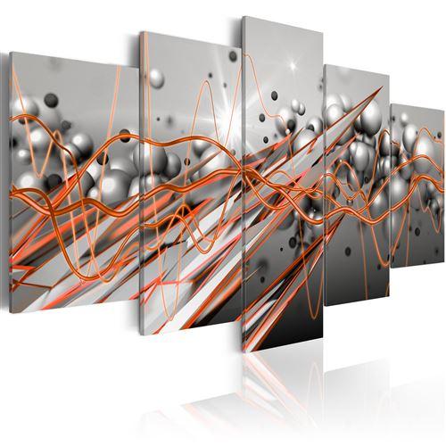 Paris Prix - Tableau Imprimé orange Stream 100 X 200 Cm