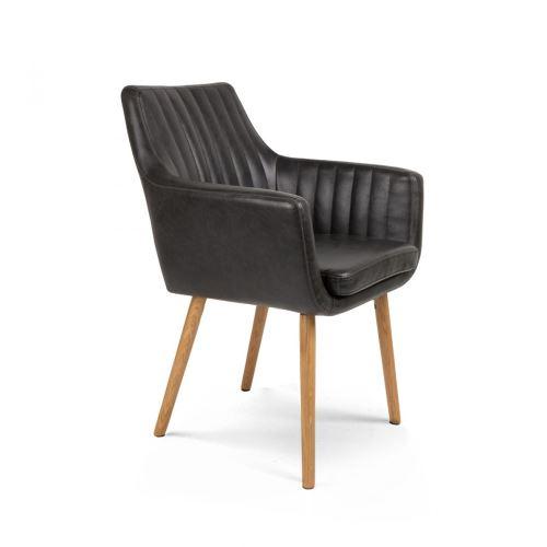 Chaise vintage capitonnée Pike - Couleur - Noir