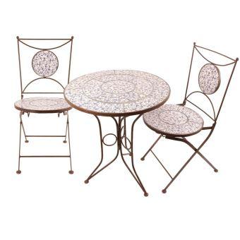 Table et chaises jardin fer forgé céramique 2 personnes ...