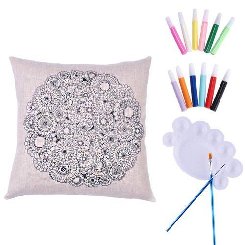 Housse Coussin / taie d'Oreiller en Tissu à colorier et à Personnaliser ( Pinceaux et peinture fournis ) - Fleurs