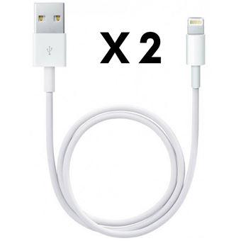 Lot de 2 Cables Lightning Chargeur Adaptateur pour Apple