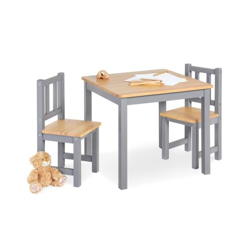 Table enfant Fenna gris naturel 57x57cm + 2 chaises