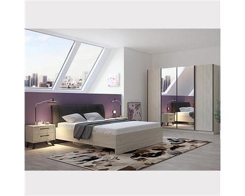Chambre à coucher complète moderne couleur bois clair ANYA - L 170 x P 221,2 x H 97,8 cm