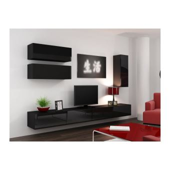 meuble tv design suspendu fino noir fnac. Black Bedroom Furniture Sets. Home Design Ideas