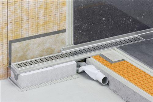Caniveau pour douche à l'italienne sortie horizontale KERDI-LINE-F - Kit de caniveau en acier inox longueur 90cm hauteur 40cm