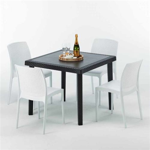 Table Carrée Noire 90x90cm Avec 4 Chaises Colorées Grand Soleil Set Extérieur Bar Café Boheme PASSION, Couleur: Blanc