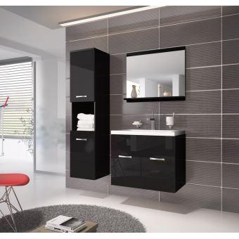 Meuble de salle de bain montr al 60 cm lavabo noir brillant armoire de rangement meuble lavabo - Meuble sous lavabo noir ...