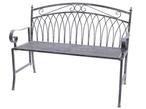 Banc de jardin en métal gris