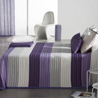couvre lit 250x270cm tiss jacquard linosay mauve pour lit de 160x200cm 100pourcentcoton achat prix fnac - Couvre Lit Violet