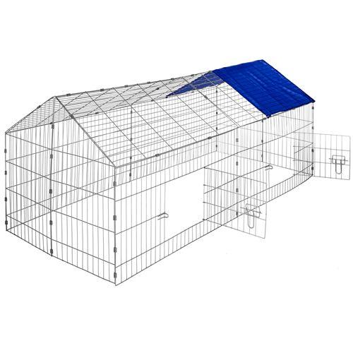 TecTake Enclos pour rongeurs 180 x 75 x 75 cm - bleu