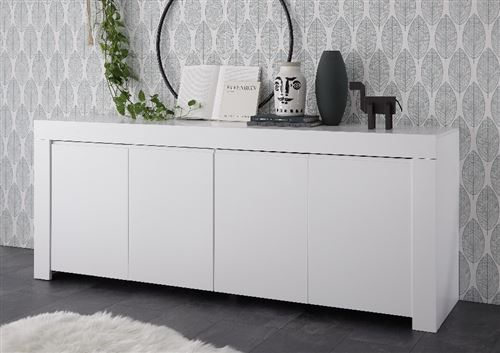 SUBLEEM Buffet 4 portes en bois Giarre blanc opaque