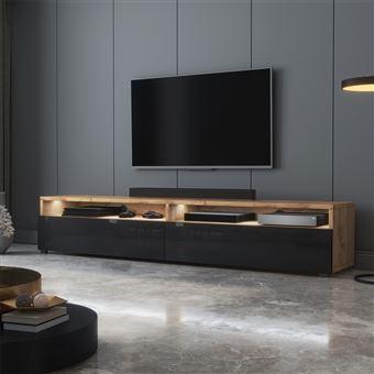 Meuble Tv Rednaw 180 Cm Chene Wotan Noir Brillant Avec Led Style Scandinave Meuble Tv Achat Prix Fnac