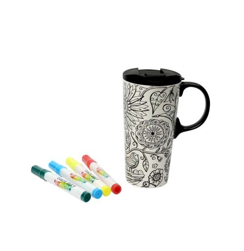 Mug à colorier - Fleur - 18 x 9 cm - 475 mL - Céramique
