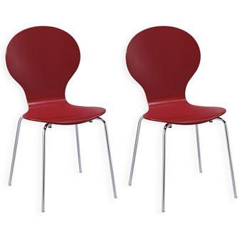 Lot de 2 chaises empilables MAUI coloris rouge Achat & prix