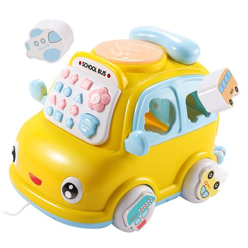 Téléphone multifonctionnel pour enfants jouet voiture Puzzle maison téléphone portable garçon - Jaune