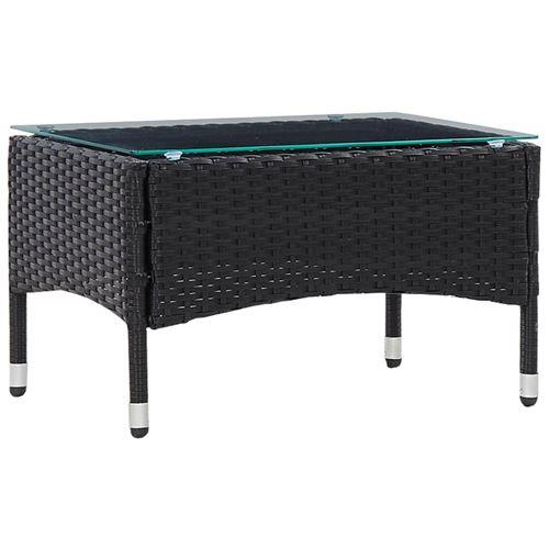 Table basse Noir 60x40x36 cm Résine tressée