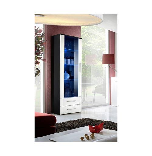 Paris Prix - Vitrine Led Design neo 190cm Noir & Blanc Brillant