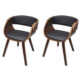 Lot de 2 chaises à accoudoirs confortable salle à manger brun ...