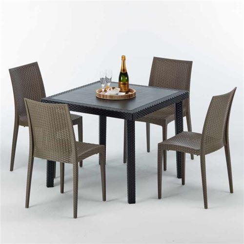 Table Carrée Noire 90x90cm Avec 4 Chaises Colorées Grand Soleil Set Extérieur Bar Café BISTROT PASSION, Couleur: Marron