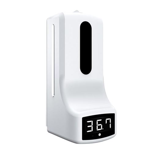 Distributeur de savon 1000 ml + thermomètre infrarouge mural 2 en 1 - Blanc