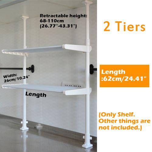 de l'étagère de stockage de rack de tension de cuisine Pôle de tension 68-110 * 62 cm