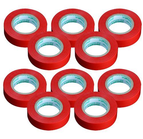 Lot de 10 rouleaux adhésifs 15mm x 10m Rouge