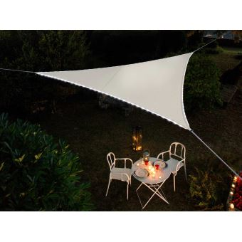 Voile d\'ombrage triangulaire Leds solaires 3,60 x 3,60 x 3,60 m ...