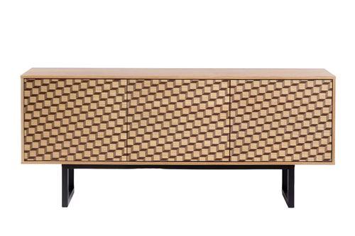 Paris Prix - Buffet 3 Portes Cube camden 175cm Chêne & Noir
