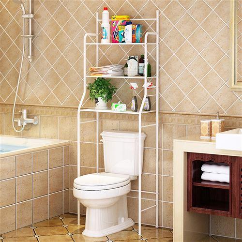 Meuble Dessus Toilettes WC Blanc 3 étagères en acier inoxydable