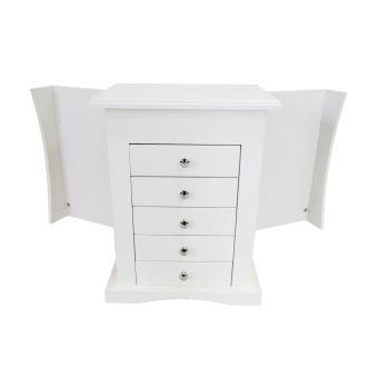 meuble bijoux avec tiroirs bote bijoux avec compartiments 36 x 285 x 23 cm blanc matriau mdf verre achat prix fnac