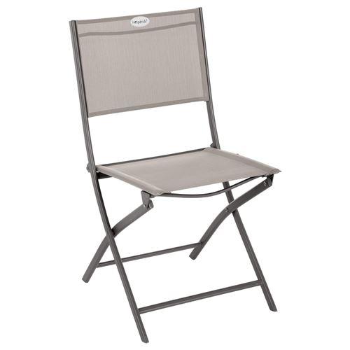 Chaise de jardin pliable Modula - Acier et polyester - Taupe et gris