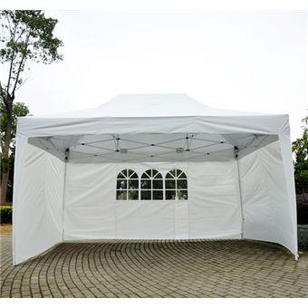 Tonnelle tente de reception pliante pavillon chapiteau barnum 3x4,5m blanc  cotes demontables